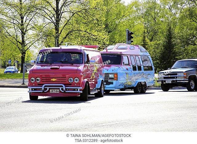 Salo, Finland. May 18, 2019. Colorful Chevy van Bartvan with customised van converted into a caravan arrives to Salon Maisema Cruising 2019