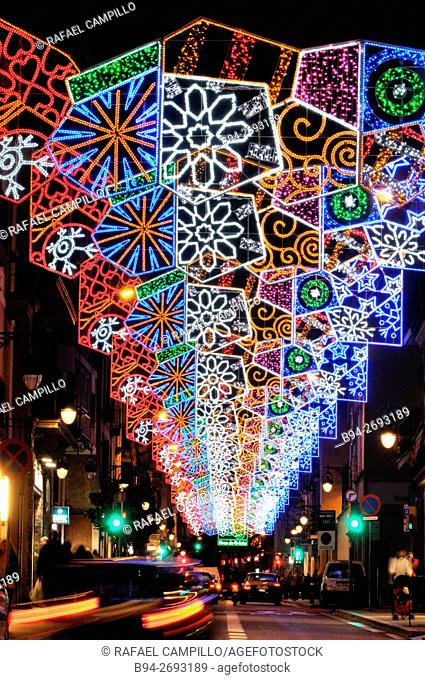 Christmas lights. Barcelona. Catalonia. Spain