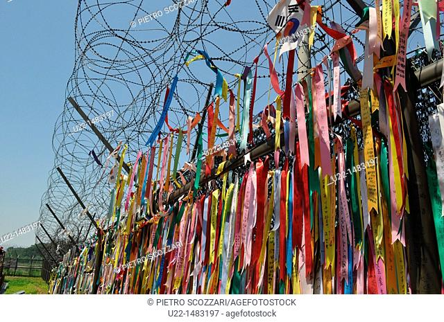 DMZ Zone (South Korea): peace messages by the Freedom Bridge, in Imjingak