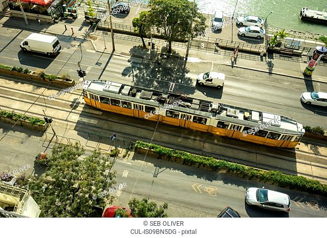 Tram and traffic by River Danube, Budapest, Hungary
