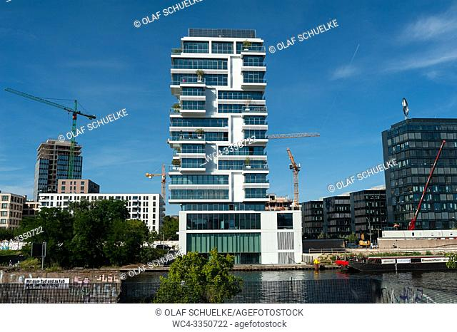 Berlin, Germany, Europe - View of the Living Levels luxury residential tower block along the Spree River in Berlin Friedrichshain