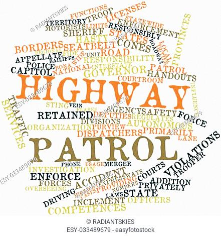 Abstract word cloud for Highway patrol with related tags and terms