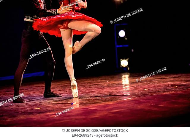 Legs of a male and female ballet dancers during a dance performance
