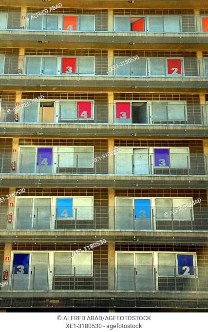apartment building with numbers on the doors, Zona Franca, Barcelona, Catalonia, Spain