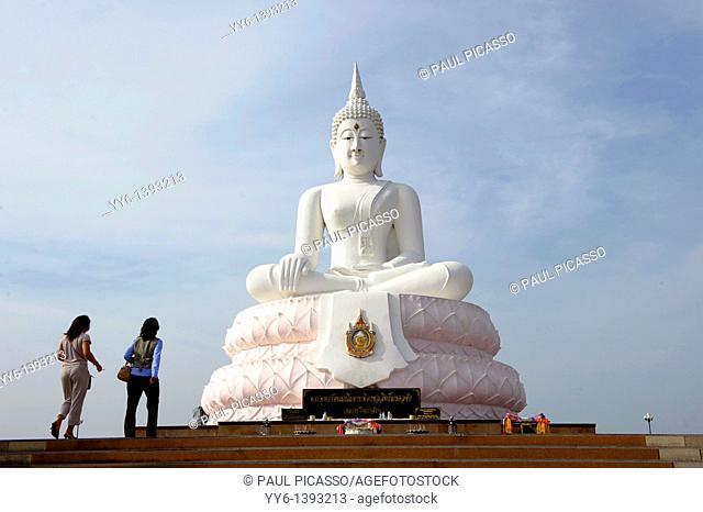big buddha statue at Pasak Jolasid Dam , Ban Kaeng Sua Ten , near Lopburi , Central Thailand
