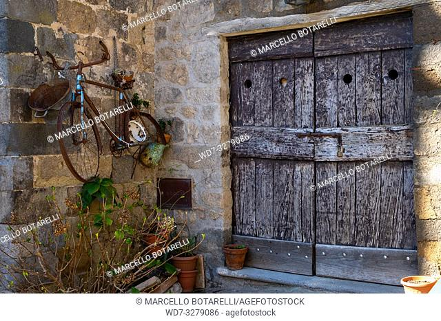 Ancient door in Bolsena, near Bolsena lake, Lazio, Italy