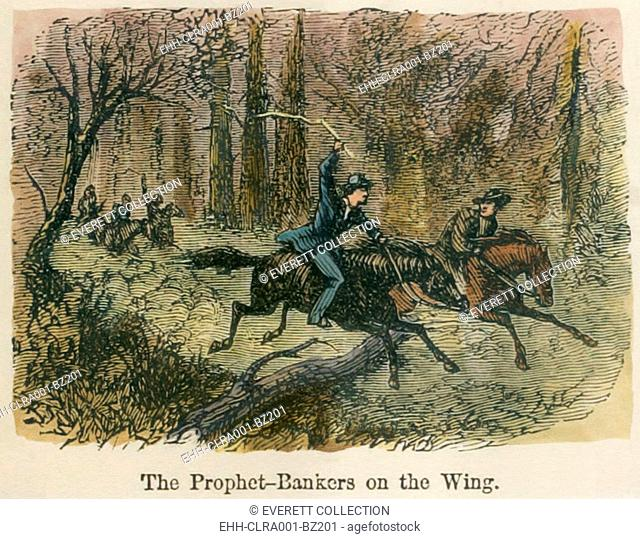 Prophet bankers on the wing. Joseph Smith and Sidney Rigdon leaving Kirtland after their illegally operated bank failed. Smith was fleeing his debts and an his...