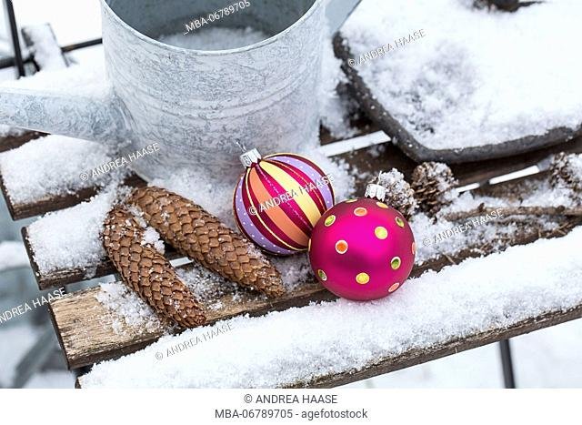 Christmas decoration in the snow, decoration, still life