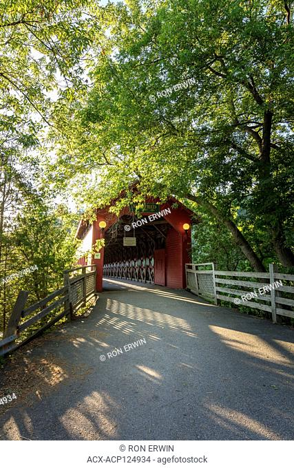 Wakefield Covered Bridge at Wakefield, Quebec, Canada - a 1997 replica of the 1915 Gendron bridge that burned in 1984