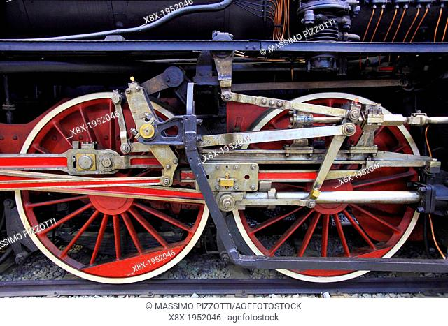 Historic trains at National Museum of Science and Technology, Milan, Italy