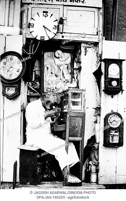 Watch repair shop Mohammed Ali road Mumbai Maharashtra India Asia 1976
