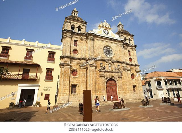 View to the San Pedro Claver Church and Sanctuary at the historic center, Cartagena de Indias, Bolivar, Colombia, South America
