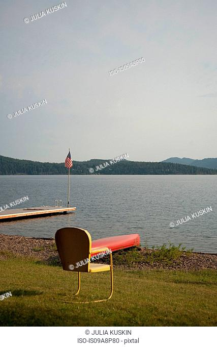 Empty chair, Lake Pend Oreille, Idaho, USA