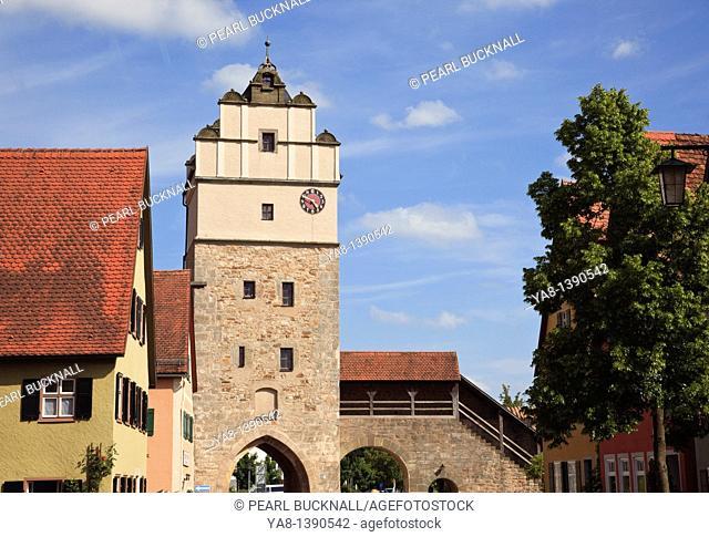 Nordlinger Strasse, Dinkelsbühl, Bavaria, Germany, Europe  Nordlingentor Nordlingen Gate tower and old town walls in medieval Altstadt on the Romantic Road...