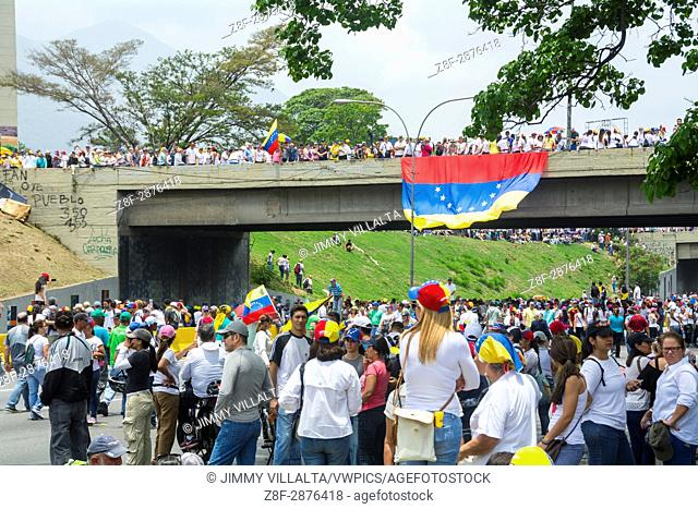 Great march of the opposition against the coup. Caracas, Venezuela. April, 19,2017