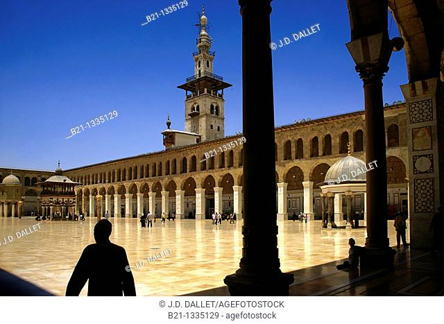 Syria-Damascus- The Umayyad Mosque, also known as the Grand Mosque of Damascus Arabic:    , transl  Gam' Bani 'Umayyah al-Kabir