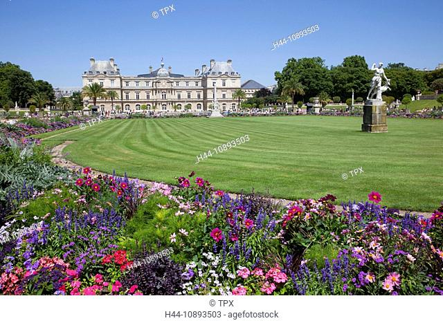 Europe, France, Paris, Luxembourg Gardens, Luxembourg Palace, Palais du Luxembourg, Jardin du Luxembourg, The Senate, Tourism, Travel, Holiday, Vacation