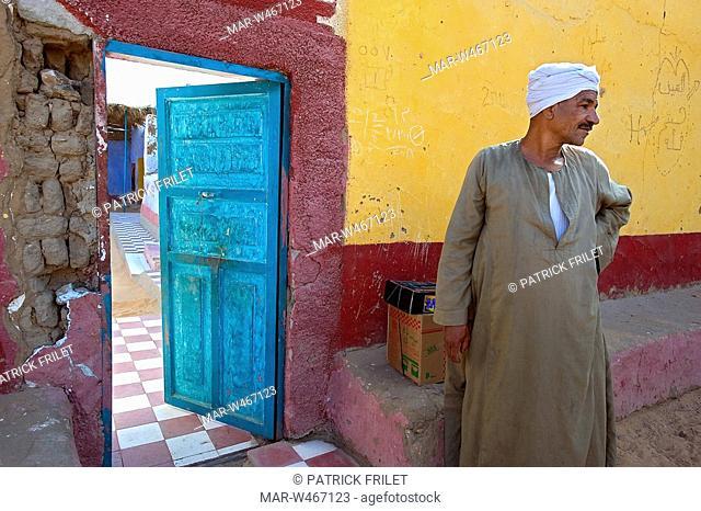 Nubian village on the Nile river. Naga el Chedid, Egypt