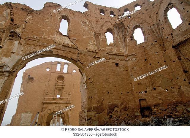 Ruins of the Civil War bombings. San Martín church, Convento de San Rafael at the back. Belchite. Zaragoza. Aragon. Spain