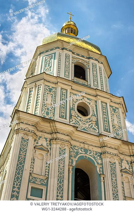 Close up view of Saint Sophia Cathedral Bell tower in Kyiv, Ukraine. Sophia Cathedral (Eastern Orthodox Cathedral, 11th century) - UNESCO World Heritage Site
