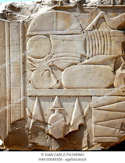 Karnak, Luxor, Egypt. Temple of Karnak sacred to god Amon: beautiful hieroglyphs of Sesostris I