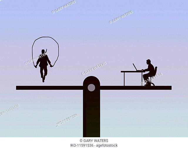 Seesaw balancing man skipping and man working at desk