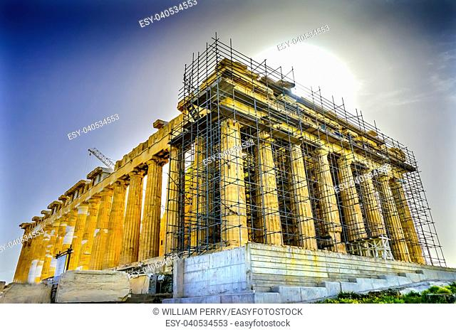Sun Morning Parthenon Acropolis Athens Greece. Parthenon is Temple to Athena on the Acropolis. Temple created 438 BC and is symbol of ancient Greece