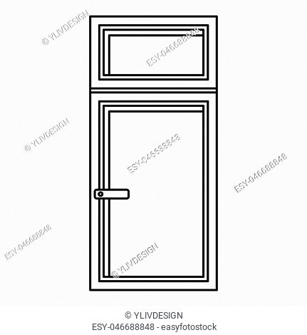 Wooden window icon in outline style isolated illustration
