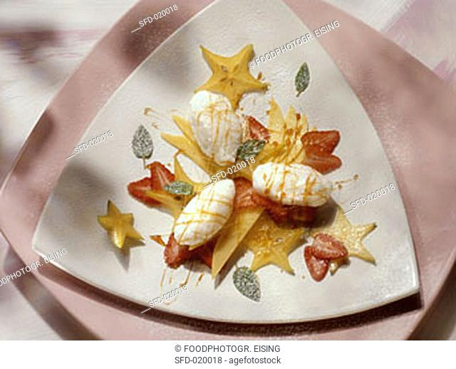 Snow Eggs with exotic Fruit Salad