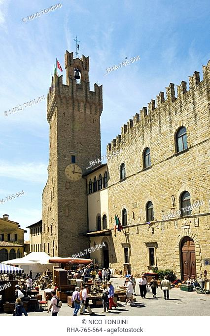 Piazza della Liberta and Antiquarian Fair, Town Hall Tower, Arezzo, Tuscany, Italy, Europe