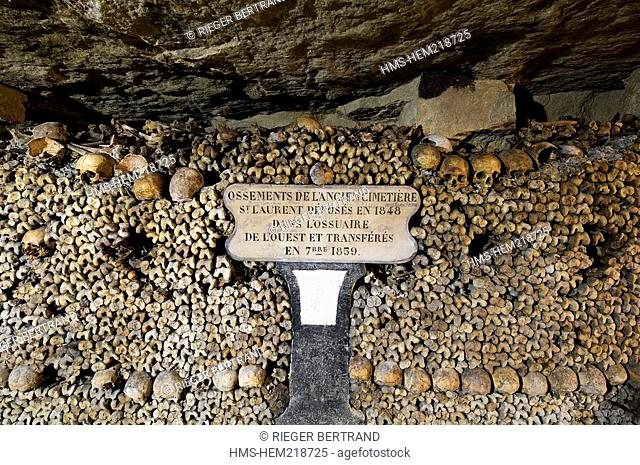 France, Paris, the Catacombs, bones