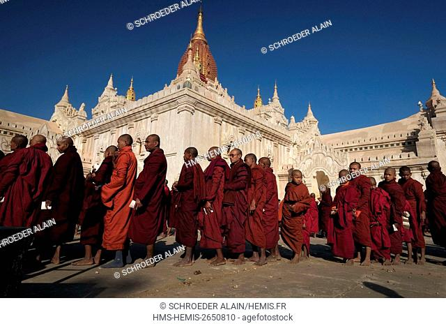 Myanmar, Bagan, Mandalay Province, Ananda Temple during the Pyahto festival in December or January, the morning of the full moon, the monks receiving alms