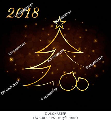 Happy New Year and Merry Christmas celebration background, gold numbers 2018, Xmas balls. Decorative golden bauble, star. Sketch for card, greeting