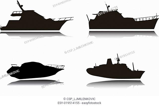 Yachts vector silhouettes