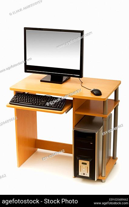 Computer and desk isolated on the white