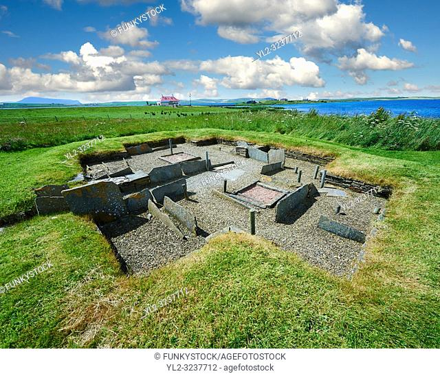 The recessed box beds and harth of one of the 8 houses of the Neolithic Barnhouse Settlement archaeological site, circa 3000 BC, Loch of Harray, Orkney Mainland