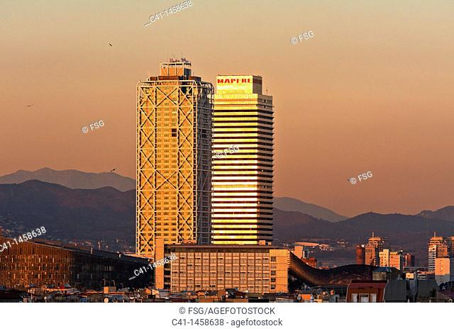 Mapfre tower and Hotel Arts, Barcelona, Spain
