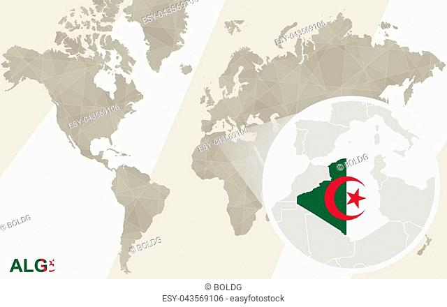 World map with magnified algeria Stock Photos and Images | age fotostock