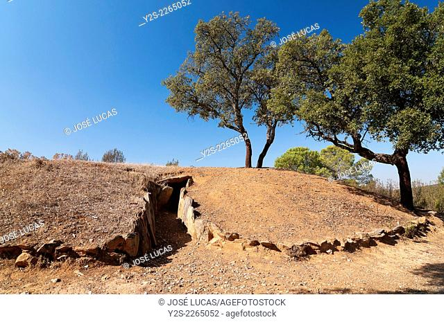Dolmens of El Pozuelo - betwen 2500-2200 BC- covered, exterior view, Zalamea La Real. Huelva province, Region of Andalusia, Spain, Europe