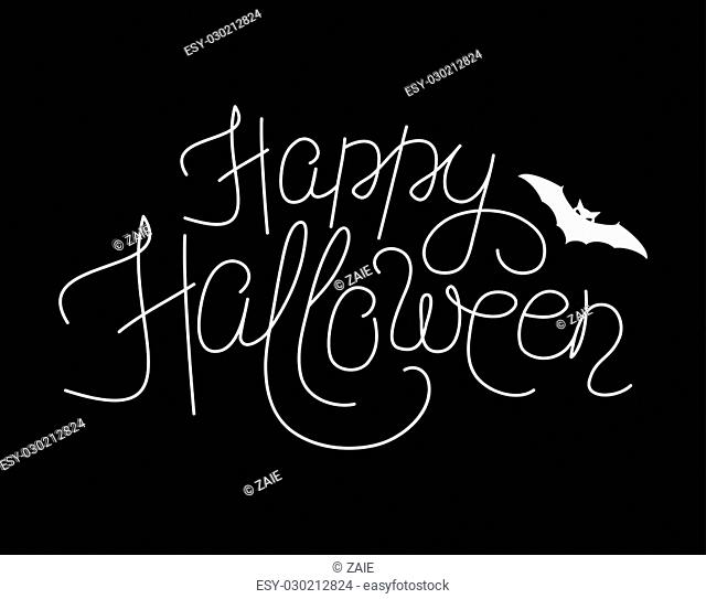 Vector illustration of happy halloween lettering sign. Thin line happy halloween script text with bat silhouette. Halloween greeting template with flittermouse