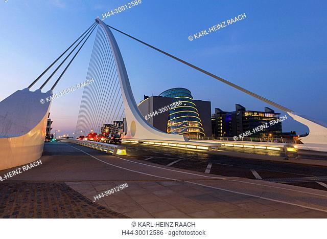 Irland, Dublin, Samuel Beckett Bridge, Convention Center, Docklands, River Liffey