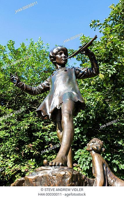 England, London, Kensington, Kensington Gardens, Peter Pan Statue by Sir George Franpton
