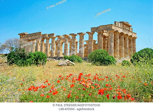 Selinunte. Ruins of Greek temple from seventh century BC. Province of Trapani. Sicily. Italy