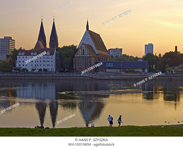 Cityscape over the Oder with concert hall C. Ph. E. Bach and Friedenskirche Church, Frankfurt (Oder), Brandenburg, Germany