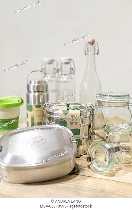 Reusable glass bottles and lunchboxes from the unpackaged 'Stückgut' shop, Altona, Hamburg, Germany