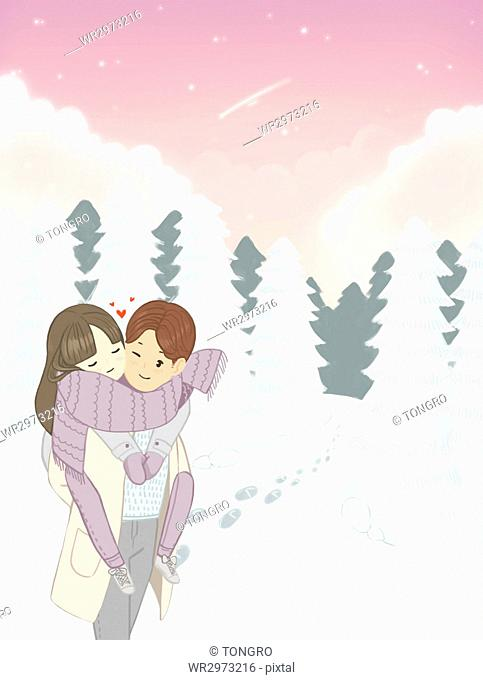 Romantic loving couple in winter