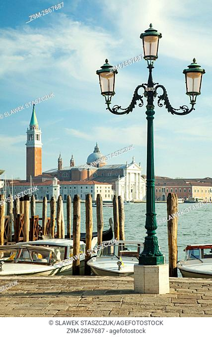 San Marco district in Venice, Italy. San Giorgio Maggiore church in the distance