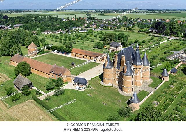 France, Seine Maritime, Martainville Epreville, Chateau de Martainville, 15th century, it houses the museum of arts and Norman traditions (aerial view)