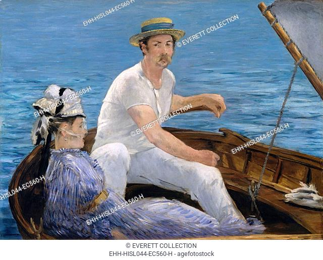 Boating, by Edouard Manet, 1874, French impressionist painting, oil on canvas. Manet uses large areas of flat color in a sunlight drenched outdoor scene...
