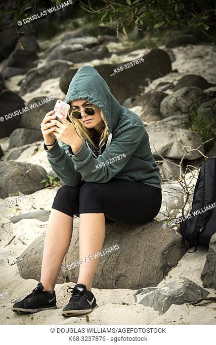 Woman, 23, on a beach in Coromandel, New Zealand